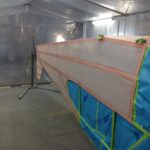 Fuselage in paint booth before silver.